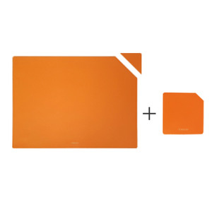 FINECHI TABLE MAT (RECTANGLE) + CUP MAT (SQUARE) SET : ORANGE